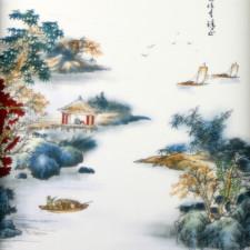 Asiatische Wanddeko, Porzellan-Bild