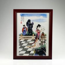 """Chinesisches Porzellanbild """"Diaochan"""" (Die Vier Schönheiten), Porzellan Wandbild"""