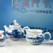 """Chinesisches Teeservice """"Am Flußufer"""", Porzellan Tee-Set handbemalt"""