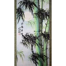 Rollbild Bambus im Mondschein