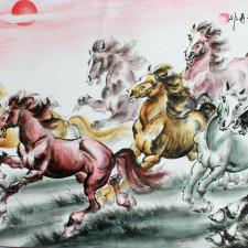 """Rollbild """"8 Pferde"""", chinesisches Wandbild Querformat"""