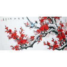 Rollbild rote Pflaumenblüte