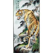 """Rollbild, chinesische Malerei """"Majestätischer Tiger"""""""