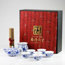 """Chinesisches Teeservice """"Lotusblume"""", blau-weißes Porzellan handbemalt"""