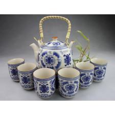 """Chinesisches Teeservice aus Porzellan """"Glück"""", blau-weiß"""