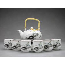 """Chinesisches Teeservice aus Porzellan """"Flötenspieler auf Wasserbüffel"""""""