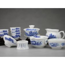 """Chinesisches Teeservice aus Porzellan """"Einsames Fischerdorf"""""""