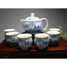 """Chinesisches Teeservice aus Porzellan """"Am Fuße des Huang Shan Gebirges"""""""