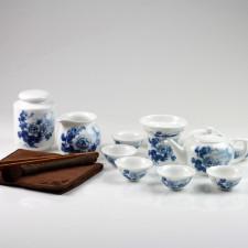 """Chinesisches Teeservice Porzellan """"Chrysanthemen im Mondschein"""" 15-teilig, asiatische Teekultur"""
