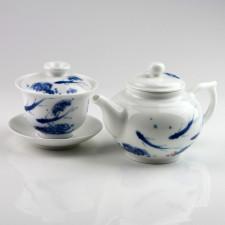 Chinesisches Tee-Set, Porzellan Teekanne und Gaiwan