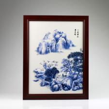 """Chinesisches Porzellanbild """"Bergidylle"""", Wandbild Keramik Fliese"""
