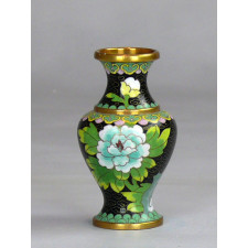 "Cloisonné-Vase ""Kaiserhof"", schwarz-blau"