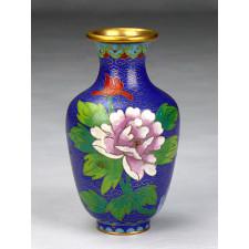 "Cloisonné-Vase ""Blumenornamente"", Kaiserblau"
