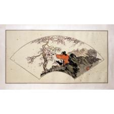 """Peng Guo Lan """"Dame mit Kranich und Pflaumenbaum"""", chinesische Malerei"""