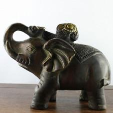 Elefanten-Paar Messing-Figuren dunkel
