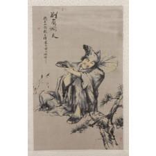 """Seidenbild """"Ji Gong"""", Brokat"""