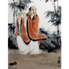 """Wang Xuan """"Flötenspieler im Bambus"""", chinesische Malerei"""