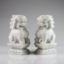 Fu-Hunde Stein-Figuren Wächterlöwen weiß, Fu-Dogs