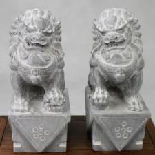 Fu-Hunde Steinskulpturen Paar