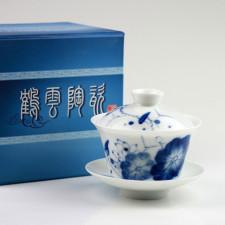 """Gaiwan """"Blauer Lotus"""" Teezeremonie, chinesische Deckeltasse handbemalt"""