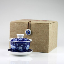 "Gaiwan ""Edle Kirschblüte"", blau-weiß Porzellan-Teetasse mit Deckel"