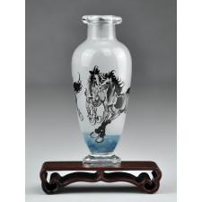 """Glas-Väschen """"Drei Pferde"""", Xu Beihong"""