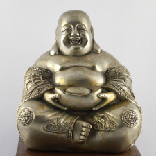 "Glücksbuddha Messing ""Lachender Buddha"" silberfarben"