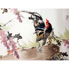 Hahn-auf-Baumstamm-zwischen-Blüten