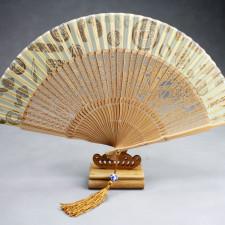 """Handfächer """"Symbolik"""", chinesischer Fächer mit Holzständer"""