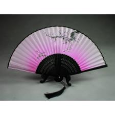 """Chinesischer Handfächer """"Winterblüte"""" (rosa, schwarzer Schaft), Klappfächer"""