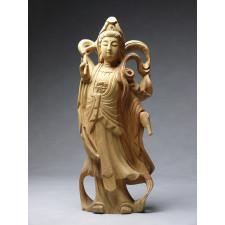 "Holzskulptur ""Himmlische Guanyin"""