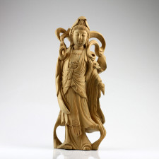 """Holzskulptur """"Himmlische Guanyin"""", Kuan Yin Holzfigur"""