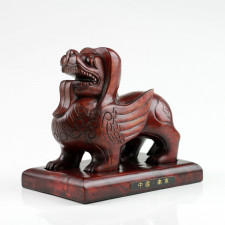 "Feng Shui Holzfigur ""Pixiu"", chinesische Holz Deko-Skulptur"