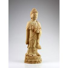 """Holzskulptur """"Reiner Bodhisattva der Ruhe"""", Amithaba Buddha"""