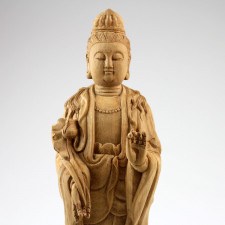 "Holzskulptur ""Guan Yin mit Lotus"", chinesische Holzfigur Kwan Yin"
