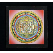 Thangka, Kalachakra Mandala, rot mit schwarzem Rahmen