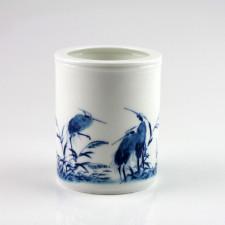 """Porzellan-Vase """"Reiher im Schilf"""", Stifte-und Kalligraphie-Pinselhalter"""