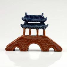 Chinesische Brücke mit Pavillon, Bonsai-Deko