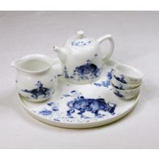 "Teeservice ""Wasserbüffel"", chinesisches Porzellan-Teeservice handbemalt"