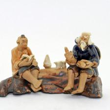 "Bonsai-Figur ""Weiser und Schüler"", Keramik"