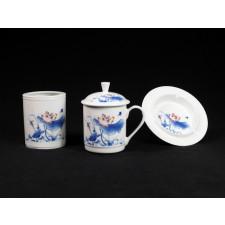 """Chinesisches Teetassen-Set """"Roter Lotus"""", Teetasse Porzellan"""