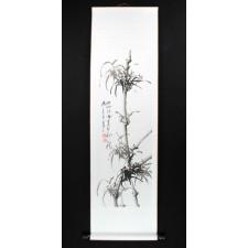 Rollbild Bambus schwarz-weiß