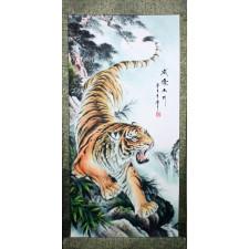 """Rollbild """"Mächtiger Tiger"""", chinesisches Tierkreiszeichen Tiger"""
