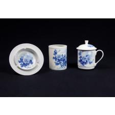 """Chinesisches Tee-Set """"Chrysanthemen im Mondschein"""", 3-teiliges Kalligrafie-Set Porzellan"""