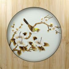 """Strohbild """"Wintermelodie"""" Ivory White mit Rahmen"""