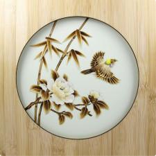 """Strohbild """"Frühlingserwachen"""" Ivory White mit Rahmen"""
