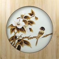 "Strohbild ""Oase der Ruhe"" Ivory White mit Rahmen"