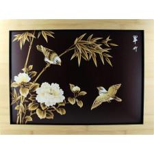 """Strohbild """"Liebesvögel und Bambus"""" Red Coffee mit Rahmen"""