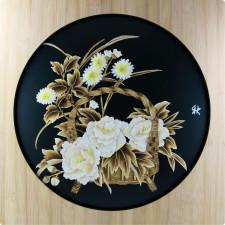 """Strohbild """"Blumenkorb Herbst"""" grün mit Rahmen"""