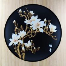 "Strohbild ""Magnolienblüte"" Sparkling Black mit Rahmen"